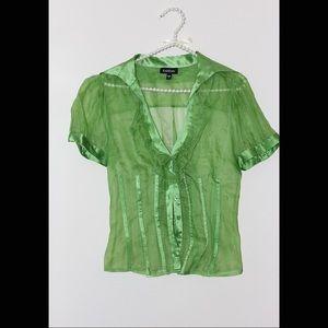 Women green sheer blouse